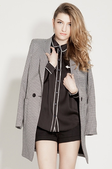 Pure Color Coat with Two Pockets [FEBK0148] - PersunMall.com