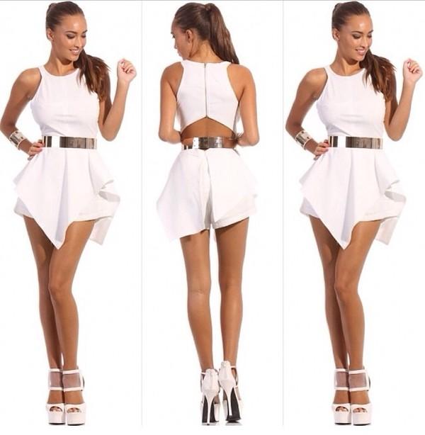 shorts white jumpsuit jumpsuit dress romper women clubwear white dress belt gold belt