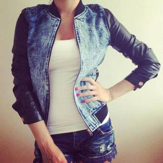 leather sleeves jacket teddy jacket baseball jacket denim jacket acid wash trendy denim leather blue cute hot pretty coat bomber jacket leather jacket on fleek
