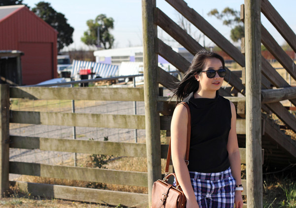 an odd girl t-shirt shorts sunglasses shoes bag jewels