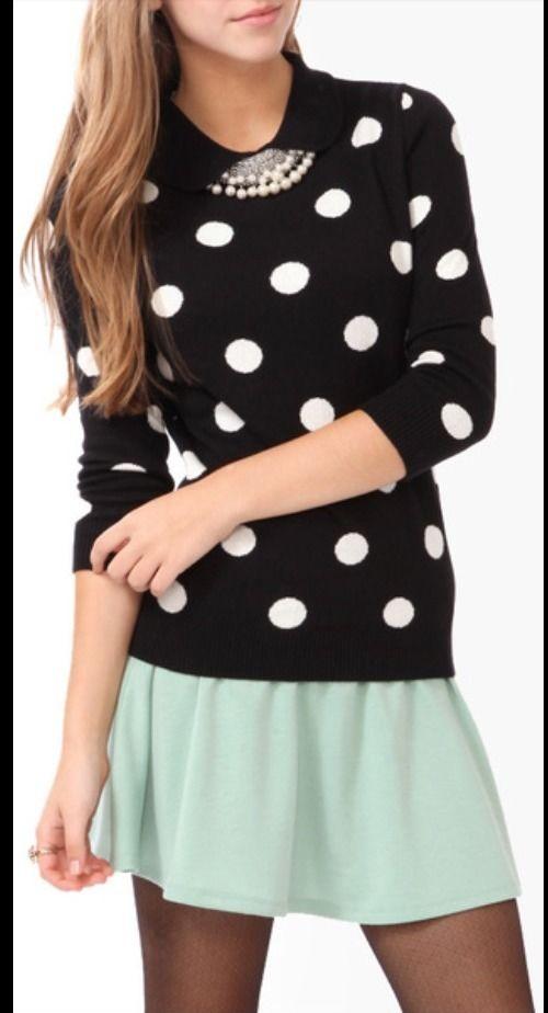 Forever 21 Peter Pan Collar Polka Dot Sweater Small Shirt Top XXI $22 New Black | eBay