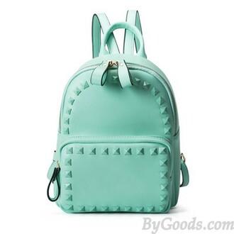 bag mint green backpack candy rivets