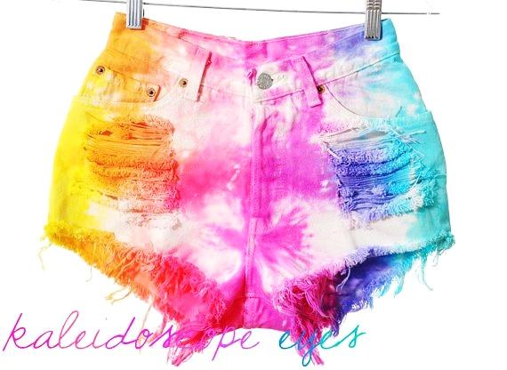 Levis 501 Colorful Rainbow Dyed TIE DYE Denim High Waist Cut off... - Shorts - Denim: Love It by Sam Williams