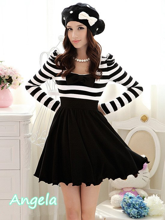 Free shipping,2012 Spring New arrival one piece dress,strip long sleeve dress for summer,high quelity,low price.-in Dresses from Apparel & Accessories on Aliexpress.com
