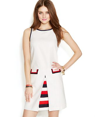 Zooey Deschanel for Tommy Hilfiger Inverted-Pleat Shift Dress - Dresses - Women - Macy's