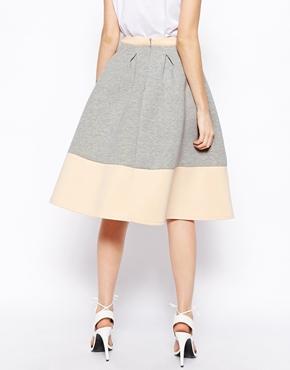 ASOS | ASOS Bonded Sweat Midi Skirt With Contrast Hem at ASOS