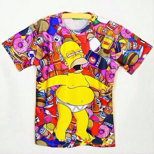 homer simpson donut funny pink shirt colorful trippy the simpsons 3d print donut drunk