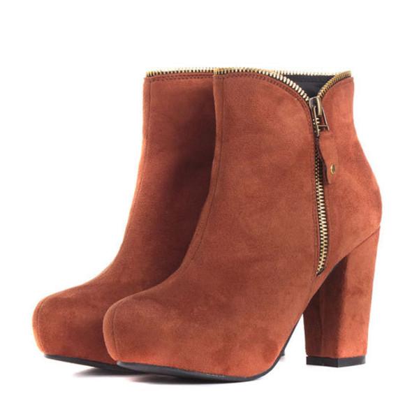 shoes booties retro high heel zip