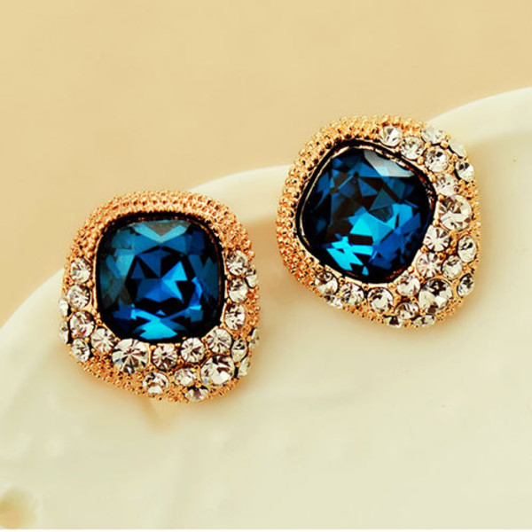 jewels earrings blue rhinestones crystal