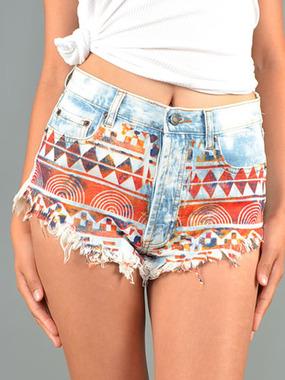 Aztec High Waist Denim Shorts - DivergentClosets