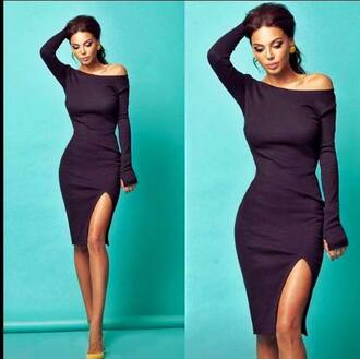 dress black dress alice dress alice long sleeve black dress knee-length dress shoulderless dress slit dress slit