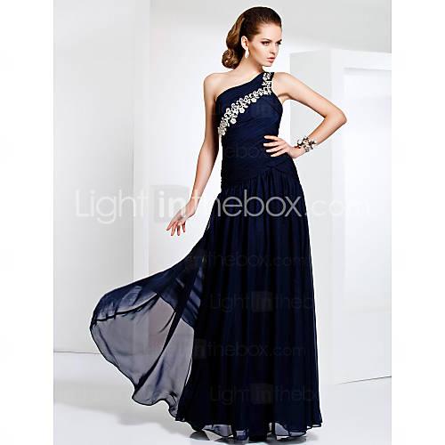 Free Measurements ! One Shoulder Floor-length Chiffon Evening/Prom Dress - USD $ 125.99