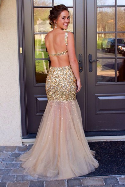 gold sequins dress open back prom dress prom dress gold dress gold prom dress gold prom dress sparkle gold sequins sequin dress gold dress sparkly dress backless prom dress gold mermaid dress girl girly girly wishlist prom prom gown prom beauty long prom dress homecoming dress open back tulle skirt sequins fashion dressofgirl