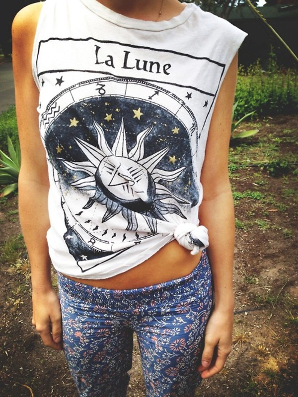 t-shirt indie shirt tarot t-shirt tank top la lune sun moon pants floral pants muscle tee tumblr astrological white tribal pattern indian hipster tumblr hippie galaxy print clothes top tank top muscle cute gold strs white top leggings floral printed leggings cool la lune shirt lune luna