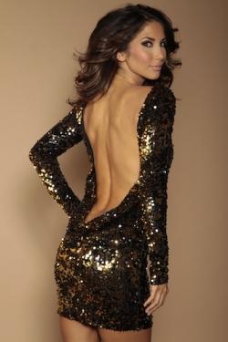 Classic Backless Dress Black/gold flip Sequins