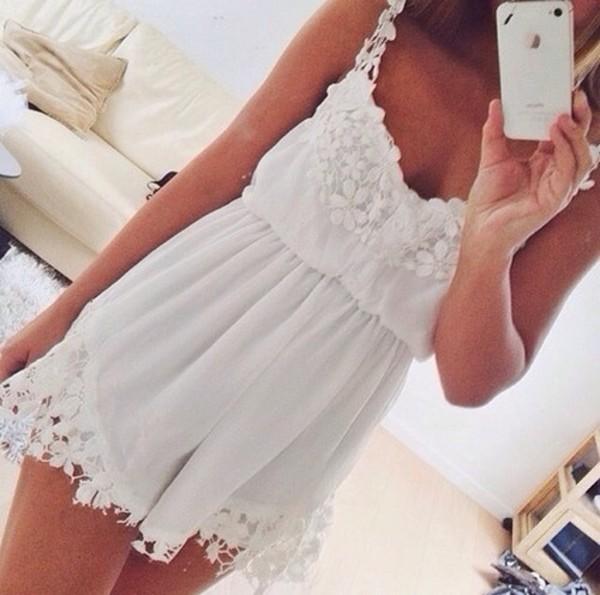dress white lace white dress jumpsuit white dress flowers romper inspiration style summer dress sheer girly mini short decorated