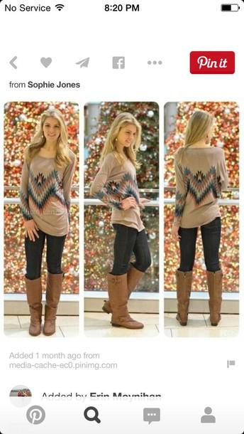 sweater tribal pattern jeans