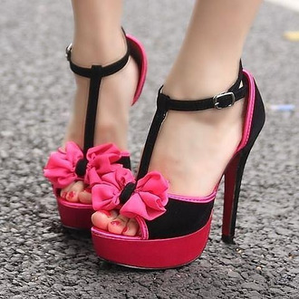 shoes pink black sexy girly noeud soirée talon