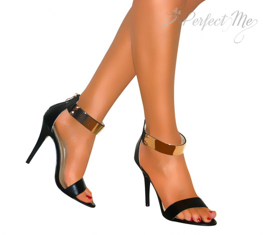 JET BLACK STRAPPY HIGH HEELS GOLD ANKLE CUFF PEEP TOE STILETTO PARTY SHOES SANDALS