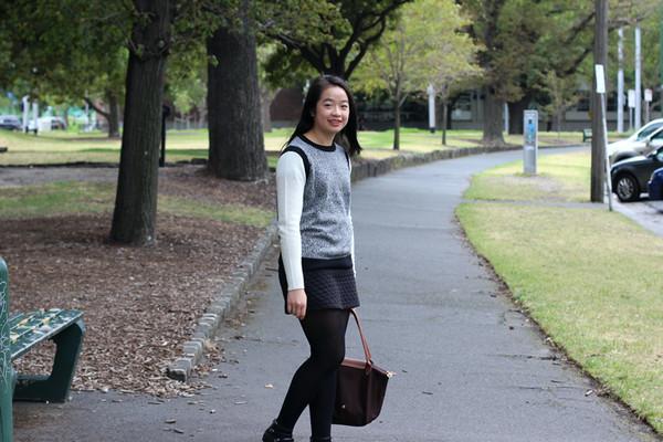 an odd girl sweater skirt bag shoes jewels