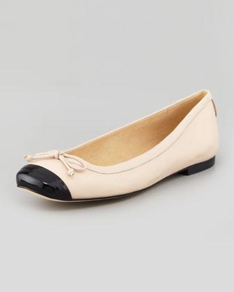 Stuart Weitzman Stringtip Cap-Toe Ballet Flat, Tan - Neiman Marcus