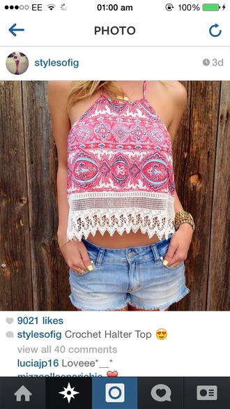 top pink summer top halterneck lace pretty girly cute pattern crop tops chic style colorful aztec vibrant cloth bikini gorgeous body  cotton stitch yellow
