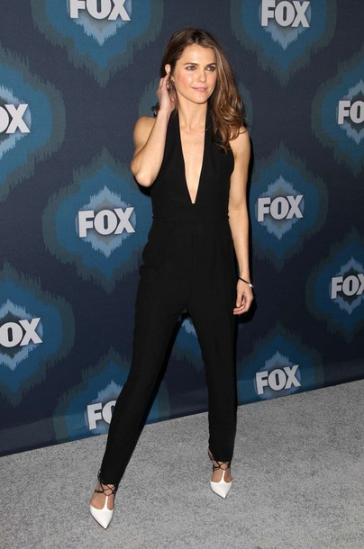 jumpsuit keri russell pointed toe v neck