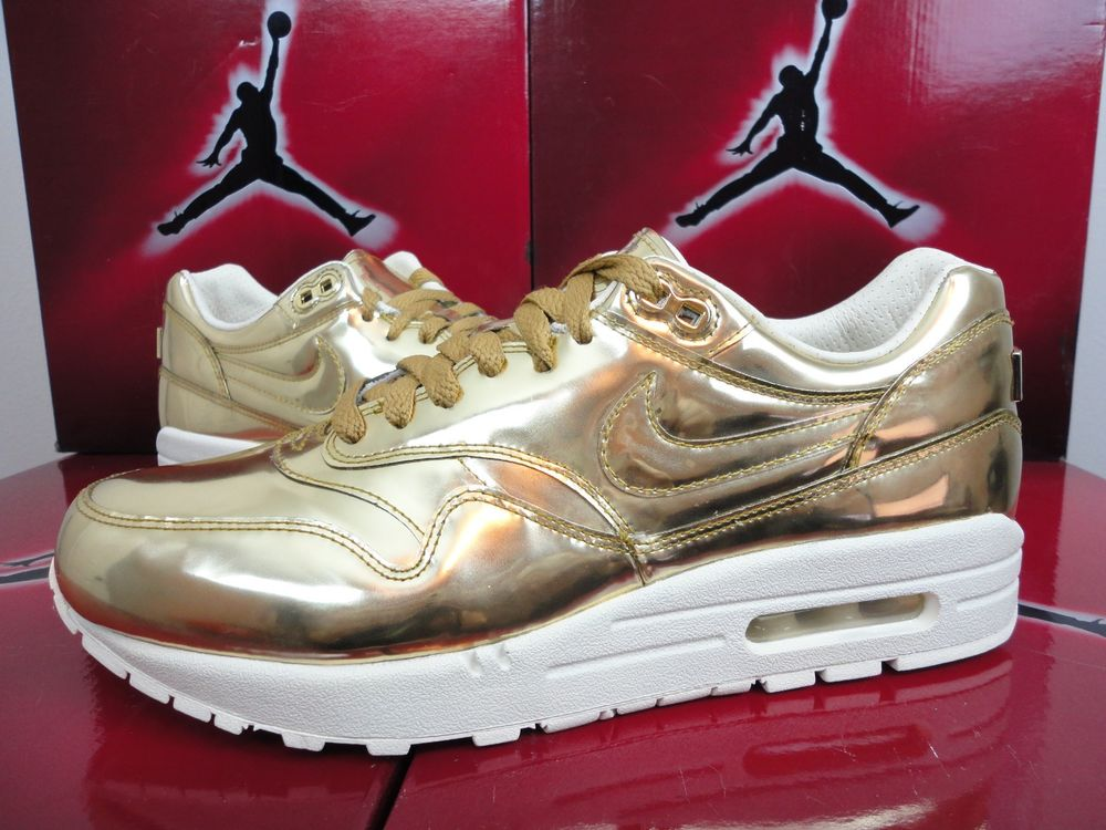 Nike Air Max 1 Liquid Metal Gold Wmns Sz 9 5 Mens Sz 8 TZ 616170 700 SP 2013 | eBay