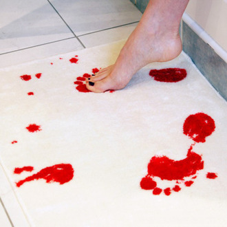 bathmat doormat foot red white shoes halloween
