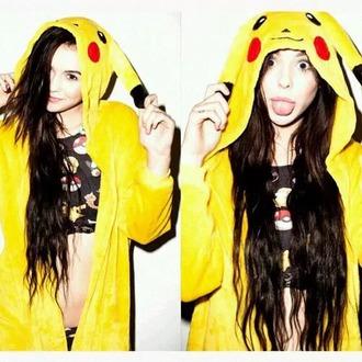 jumpsuit pikachu yellow cute emo top pokemon