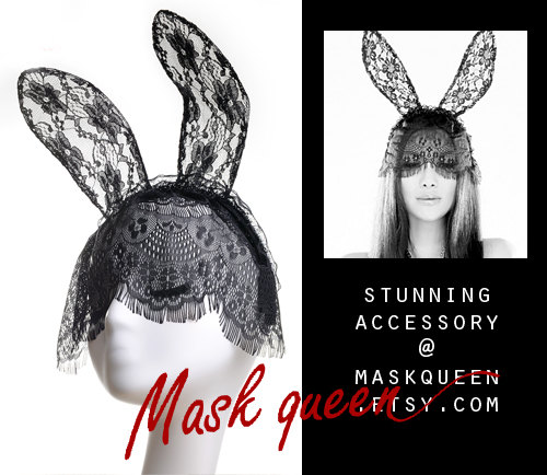 Eyelash Lace Bunny Ears MaskSexy BlindfoldParty by MaskQueen