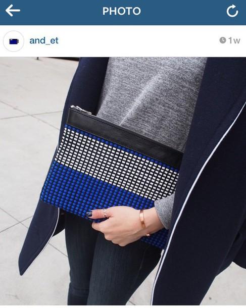 bag royal blue white clutch