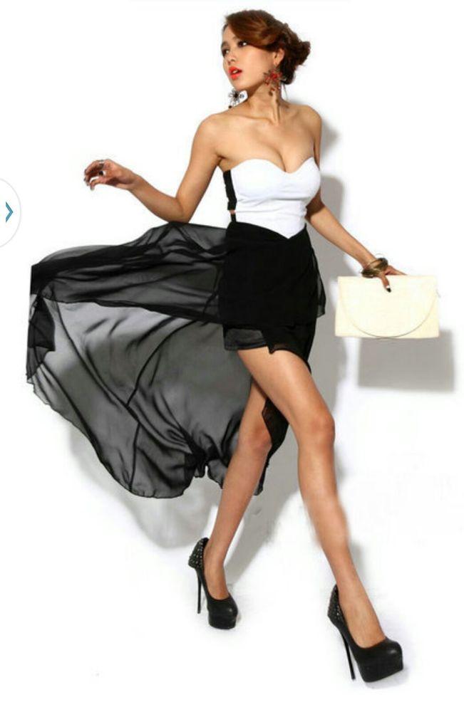 2014 Fashion Party Club Black White Dress | eBay