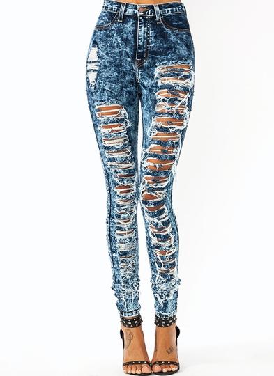 High-Waisted-Destroyed-Jeans BLUE LTBLUE TEAL - GoJane.com