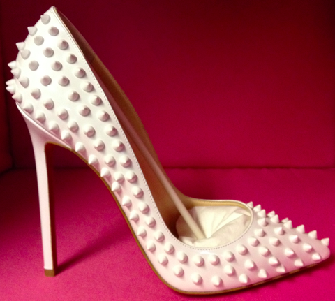 Christian Louboutin Pigalle White Spiked 120mm Pumps   circe