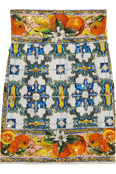 Dolce & Gabbana Embellished printed jacquard mini skirt NET-A-PORTER.COM