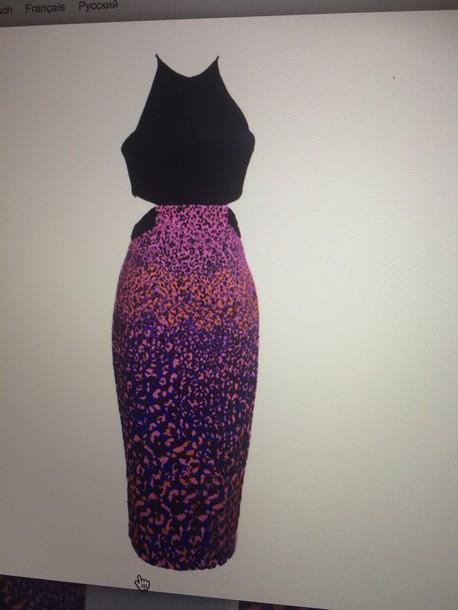 dress halter cut out leopard split skirt maxi dress