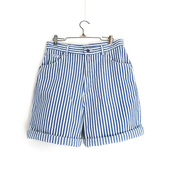 vintage Lee striped denim shorts / 31 inch by GeneralTaxonomy