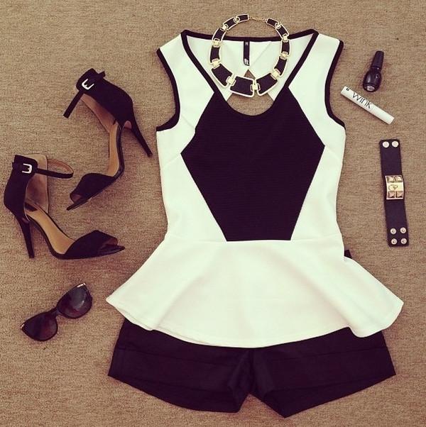 tank top peplum black and white peplum top blouse black white top