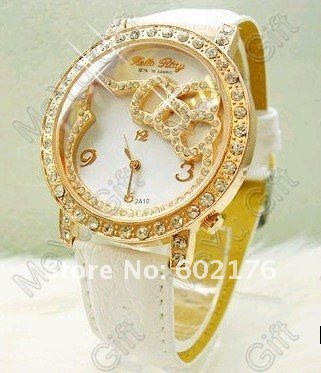 Freeshipping!Wholesale 1PCS watch face Rose gold New Fashion Hello Kitty Watch /Kitty-in Wristwatches from Watches on Aliexpress.com
