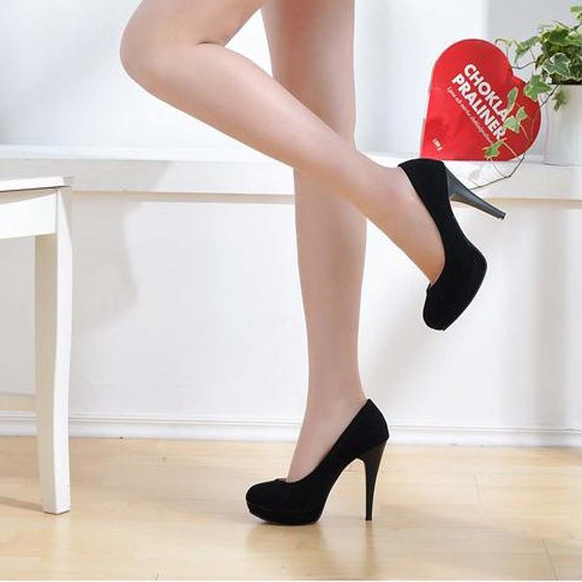 High heeled shoes princess shoes platform women's nubuck leather shoes black  pumps woman FREE shipping-inPumps from Shoes on Aliexpress.com