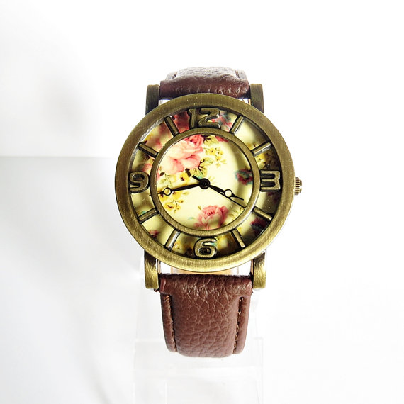 New 3D Floral Watch Vintage Style Leather Watch Women by FreeForme