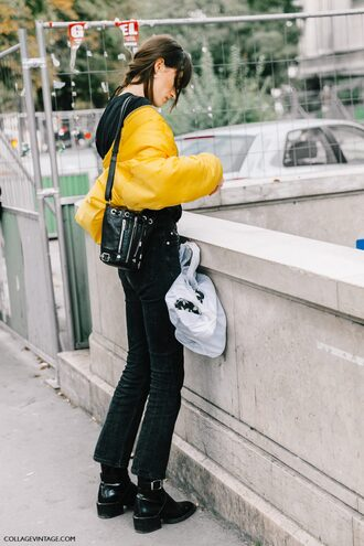 jacket tumblr yellow yellow jacket jeans black jeans bag black bag boots flashes of style flat boots black boots fall outfits streetstyle