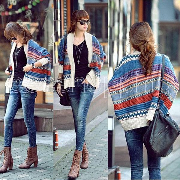 Q489 Hot Women Ladies  Cardigan Short Coat Jacket Bohemian Casual Tribal Oversized Bat Sleeve knit Sweater Knitwear  wholesale-in Cardigans from Apparel & Accessories on Aliexpress.com