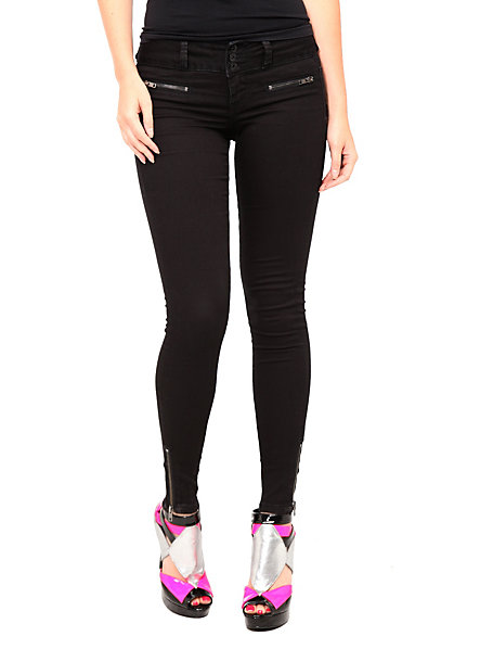 LOVEsick Black Zipper Super Skinny Jeggings | Hot Topic