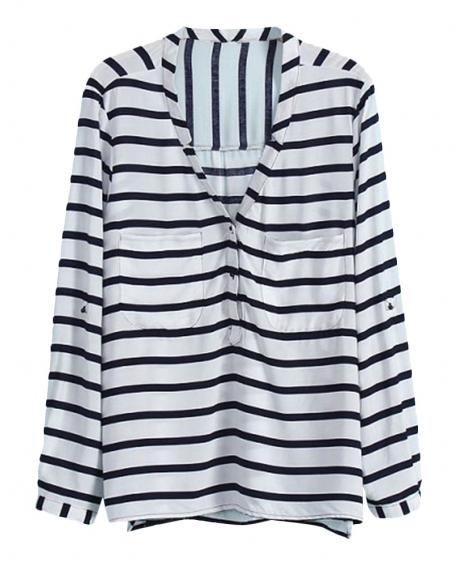 V-neck Navy-stripes Loose Shirt | BlackFive