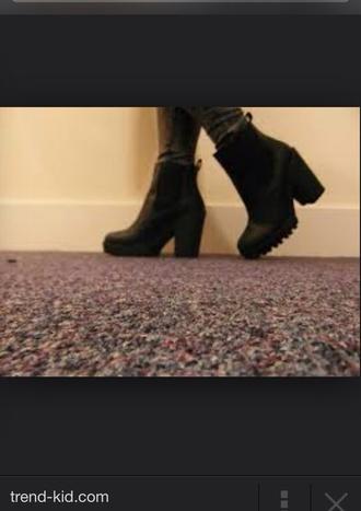 shoes heels boots black boots black heels thick heel elastic quality black heeled boots