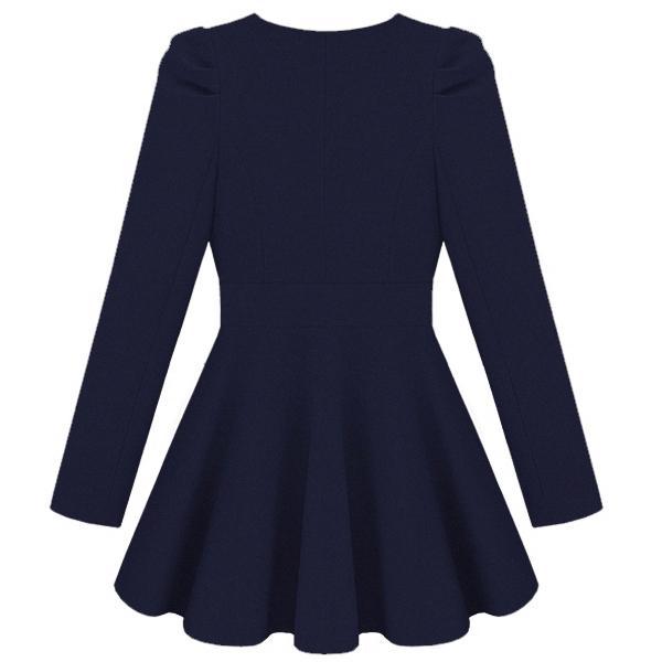 Gossip Girl Navy  Long Sleeve Double Breasted Flare Hem Wool Coat - Sheinside.com