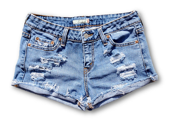 Levis Distressed Mid Waisted Cut Off Blue Jean Shorts on Wanelo