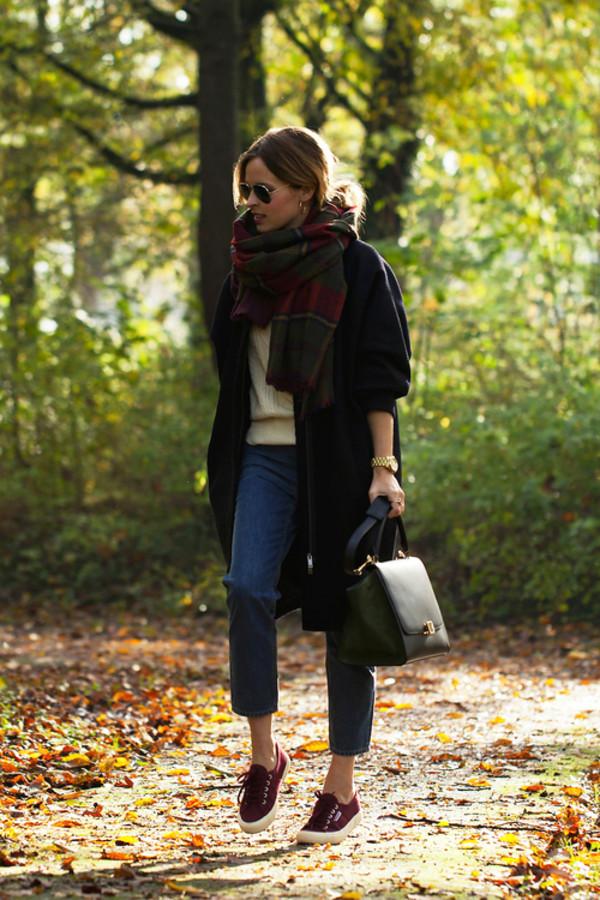 fash n chips coat jeans sweater bag scarf shoes jewels sunglasses superga